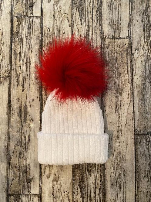 Single red fur pom hat