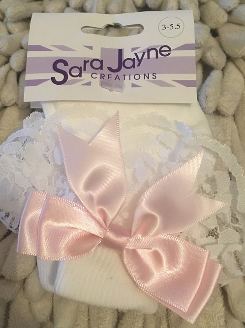 White frilly socks pink bow