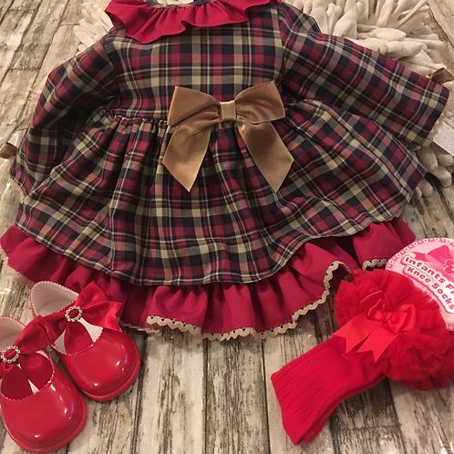 Marroon tartan dress