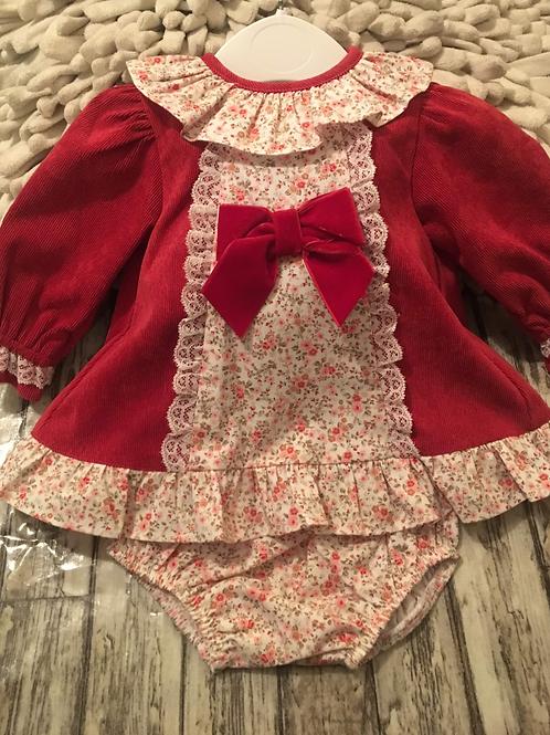 Red floral dress set