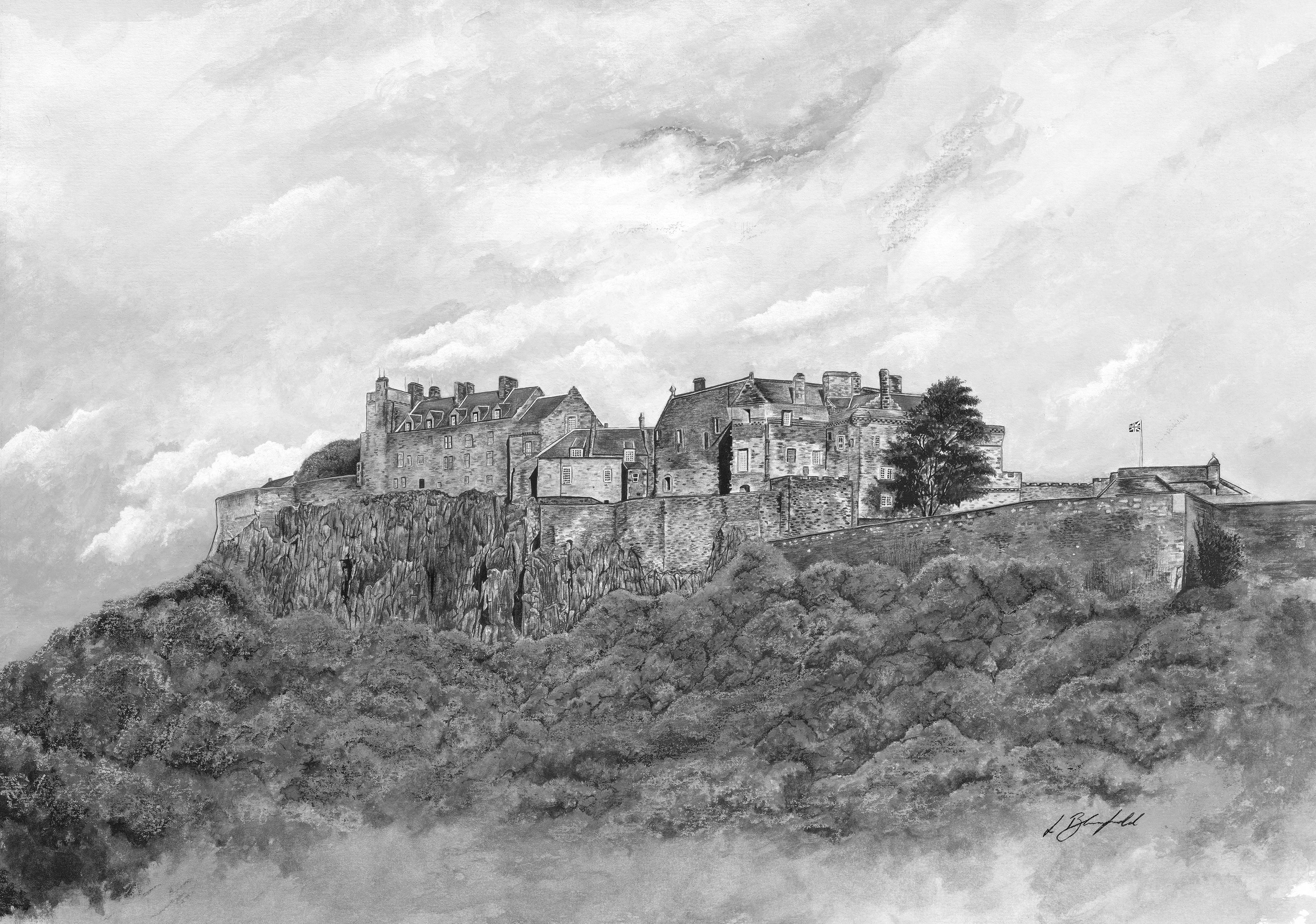 Stirling Castle - black & white banner