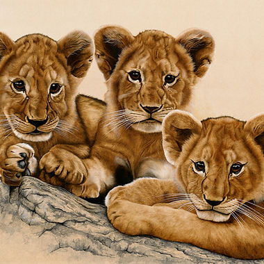 Lion cubs fine art african wildlife big cat painting