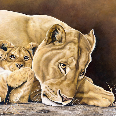 Lioness & Cub fine art african wildlife big cat painting