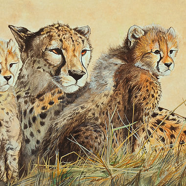 Cheetah mother and cubs fine art african wildlife big cat painting