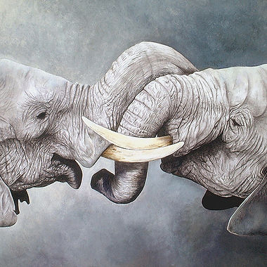 Elephants gouache watercolour fine art african wildlife painting