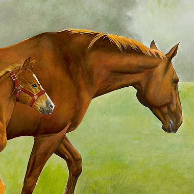 Hanovarian mare foal fine art horse painting