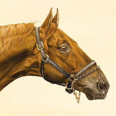 American Saddlebred chestnut horse stallion fine art horse painting