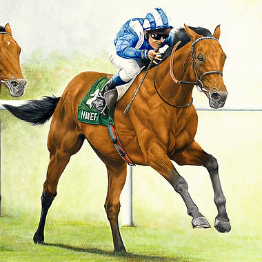 Nayef & Golan fine art horse painting Juddmonte International Stakes 2002