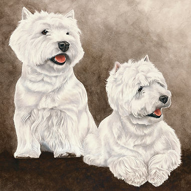 West Highland Terriers fine art dog painting