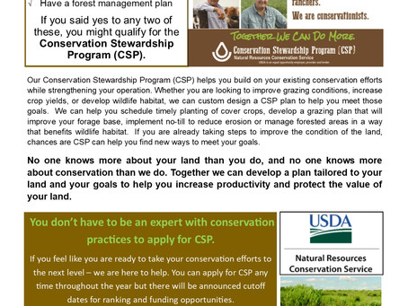 You Don't Have to be an Expert in Conservation Practices to Apply for CSP.