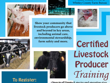 Certified Livestock Producer Training is Being Held in Columbia City, Indiana