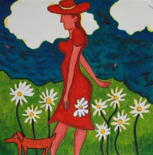 Lady in a Daisy field