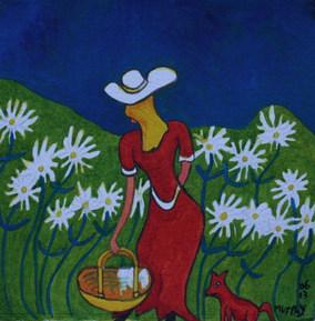 Lady Picking Daisy