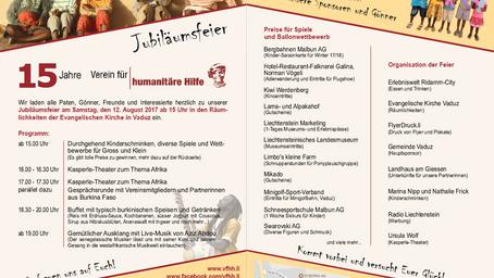 Jubiläumsfeier 15 Jahre Verein für humanitäre Hilfe