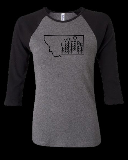 Explore Montana 3/4 Sleeve Women's Tee