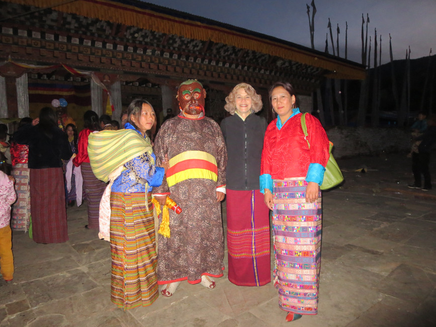 Post performance with masked Acho Tenzin