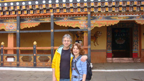 Karen and Steven in Courtyard of Paro Dzong