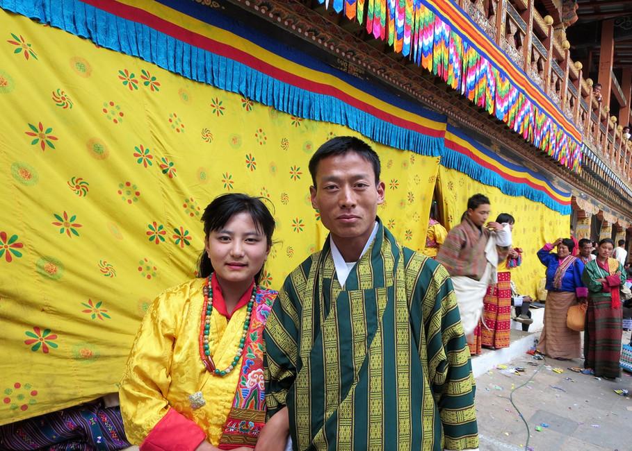 Volunteer festival dancers Chimi and Norbu
