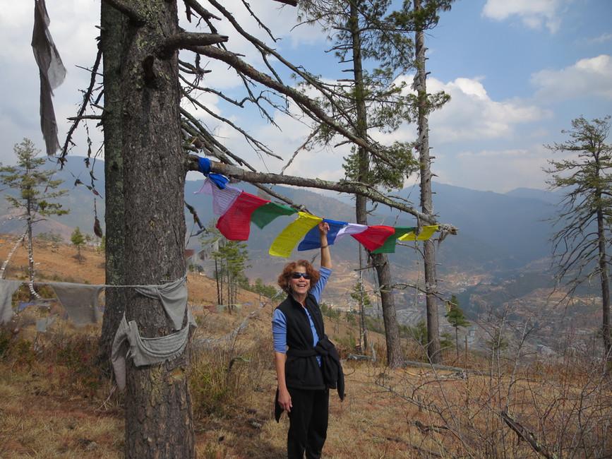 Karen hanging prayer flags in forest overlooking Thimphu