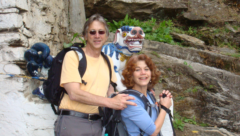 Karen and Steven hiking at Chiri Monastery