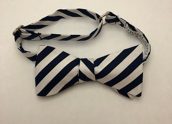 Navy and White Stripe Bow Tie