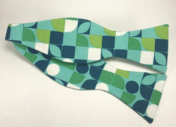 Green & Blue Pattern Bow Tie