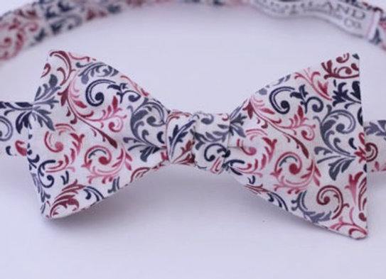Adjustable Red & Gray Floral Bow Tie