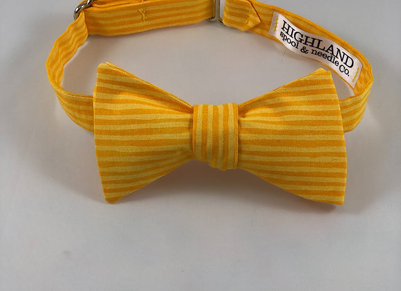 Slim yellow stripe adult bow tie