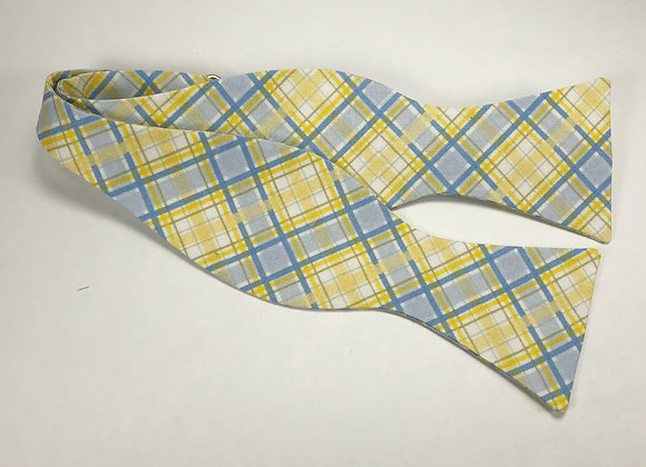 Blue & Yellow Plaid Bow Tie
