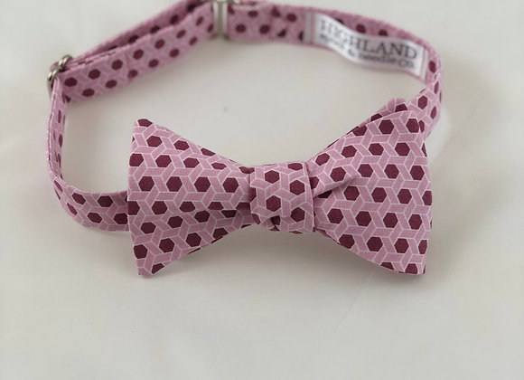 Pink and Plum Geometric Bow Tie