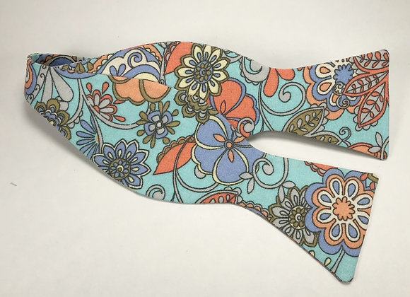 Turquoise & Coral Paisley Bow Tie