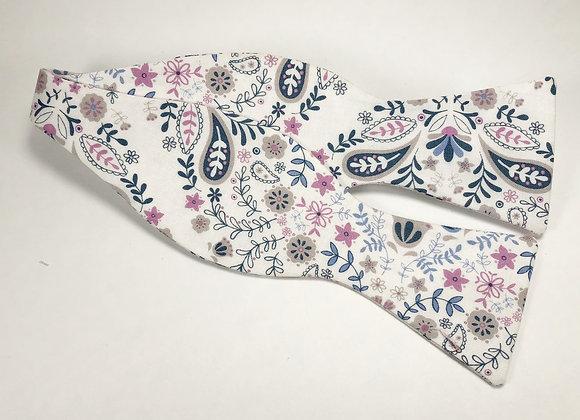 Purple & White Floral Bow Tie