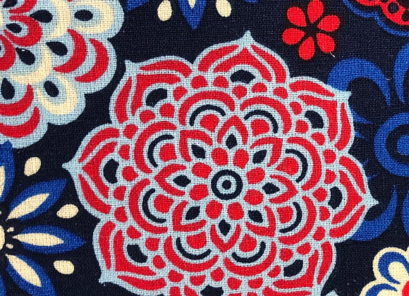 Red, white, and blue floral medallion