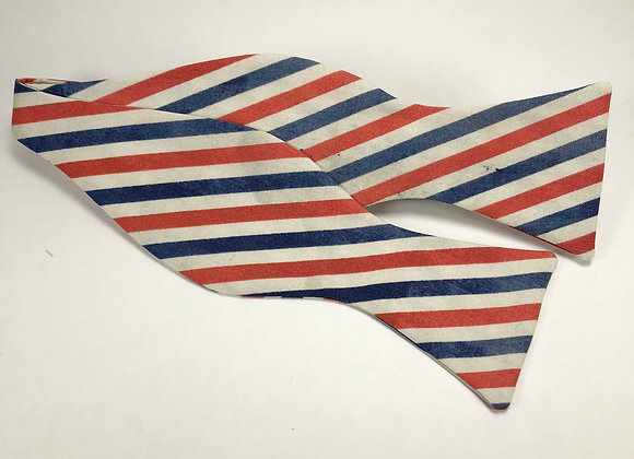 Red, White & Blue Vintage Stripe Bow Tie