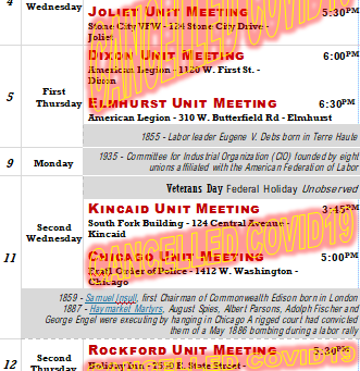 November Calendar - Unit Meetings Cancelled