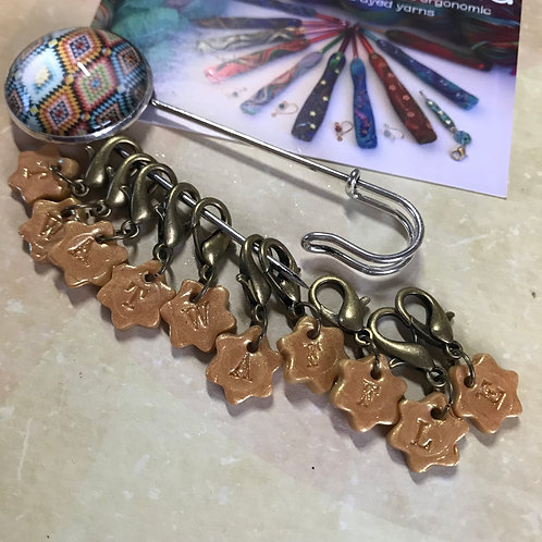 Create Your Hidden Message Stitch Marker Set with Shawl Pin