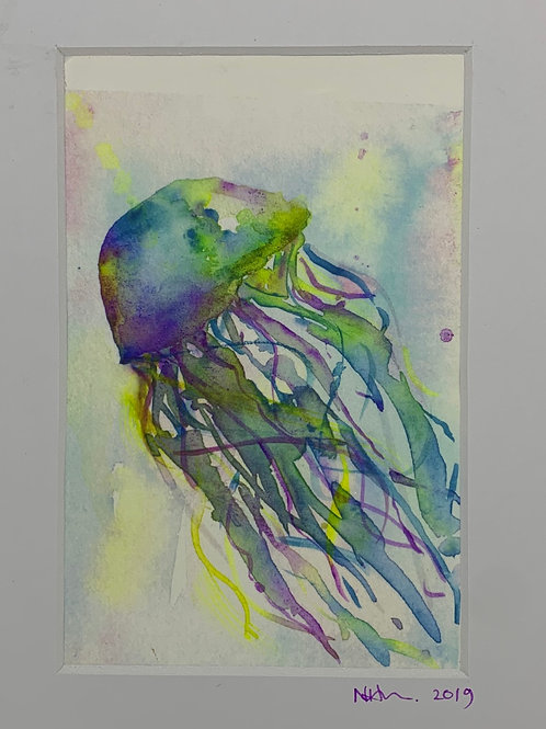 Watercolour Jellyfish Print -Postcard