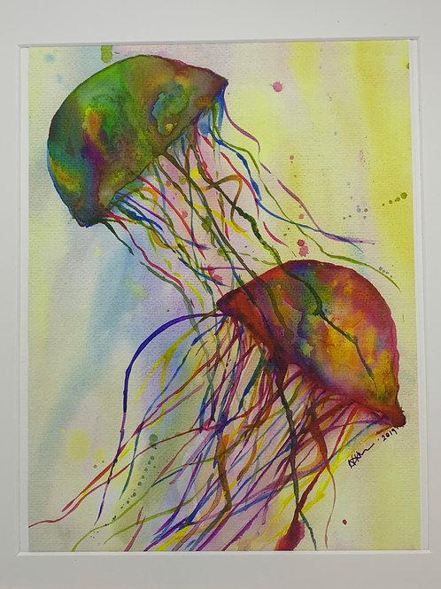 Watercolour Jellyfish Print - A4