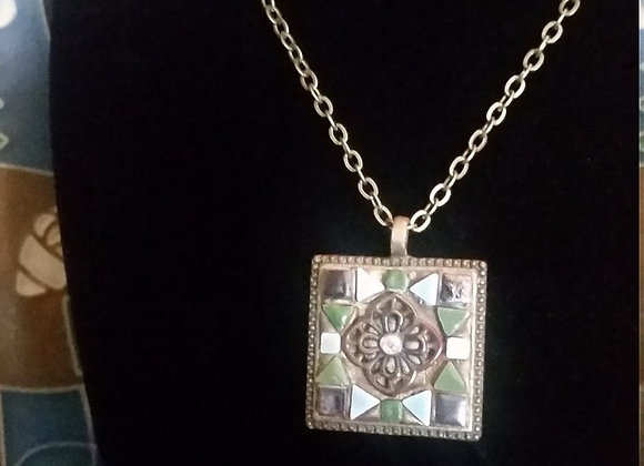 Small Renaissance Square Pendant Necklace