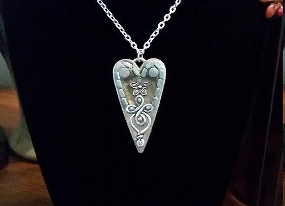Silver Filigree Heart Pendant Necklace