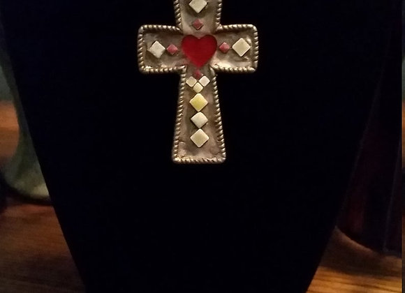 Sacred Heart Cross Pendant Necklace