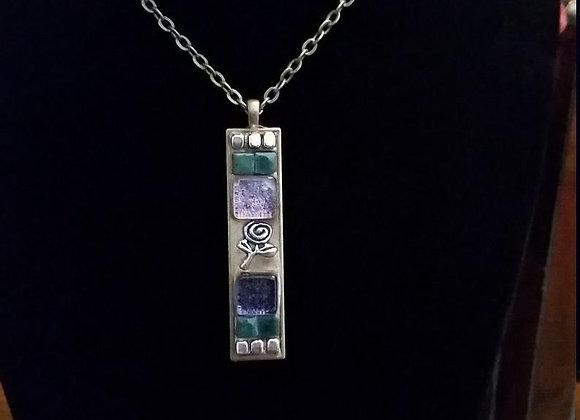 Nouveau Purple Rose Pendant Necklace
