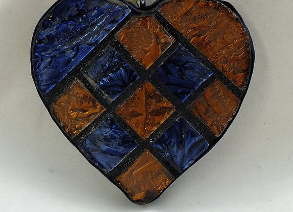 Copper & Blue Small Tile Mosaic Heart