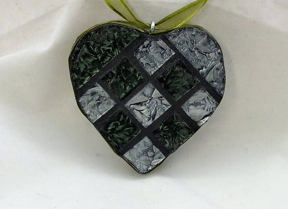 Green & Silver Small Tile Mosaic Heart