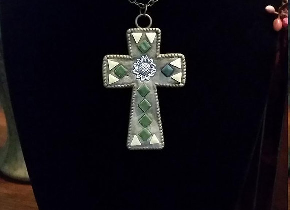 Sunflower Cross Pendant Necklace