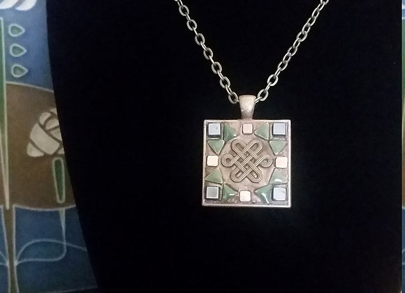 Square Celtic Knotwork Pendant Necklace