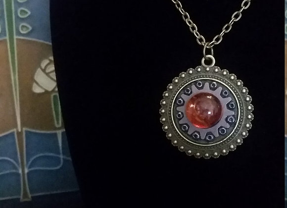 Bronze Amber Steampunk Pendant Necklace