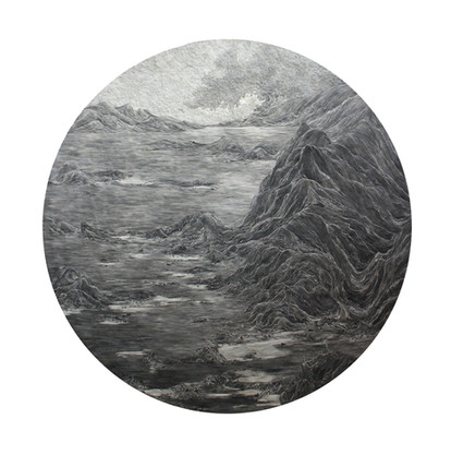 Mountain Lake with Retreating Water  2017 paper collage with UVA filter (matt) 95cm diameter