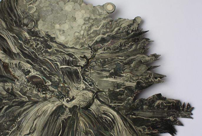 (detail) A Mountain Torrent 2018 paper collage with UVA filter (matt) 19 x 7cm