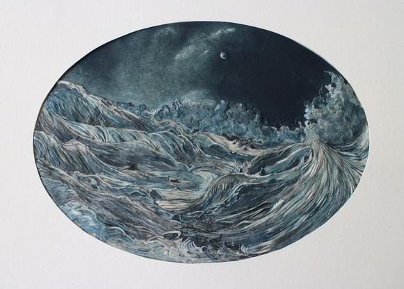 Storm at Sea  2015 paper collage with UVA filter (matt) 13 x 18cm